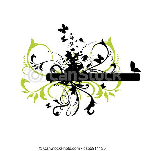 Floral grunge banner - csp5911135