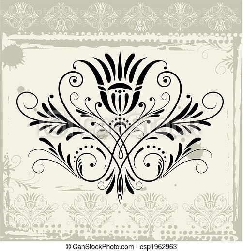 floral, grunge, ornamento, fundo - csp1962963