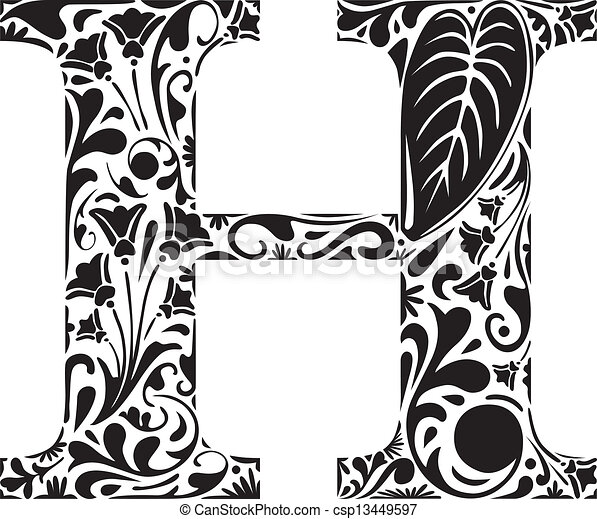 Floral H Floral Initial Capital Letter H