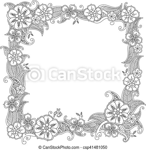 In Zentangle Style Isolated On White Background Doodle Flowers Decorative Border Coloring Book For Adult And Children Editable Vector Illustration