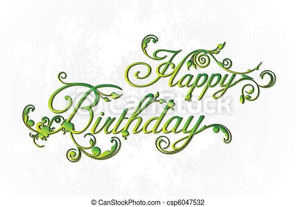 Floral Happy Birthday - csp6047532