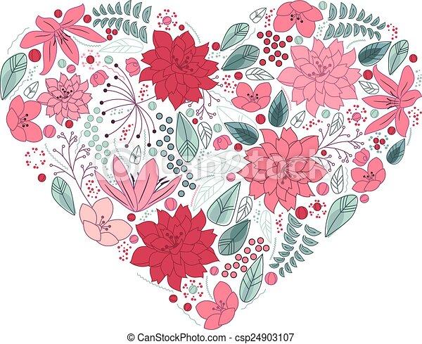 floral, hart, witte , gemaakt, bloemen - csp24903107