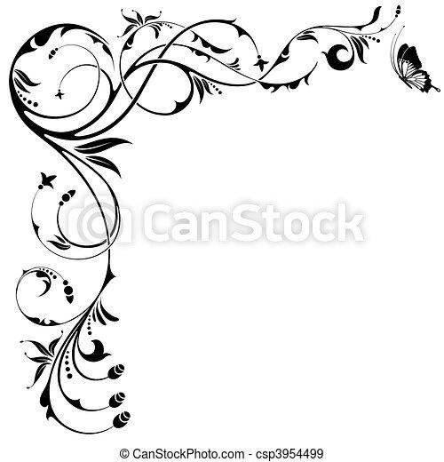 floral határ - csp3954499