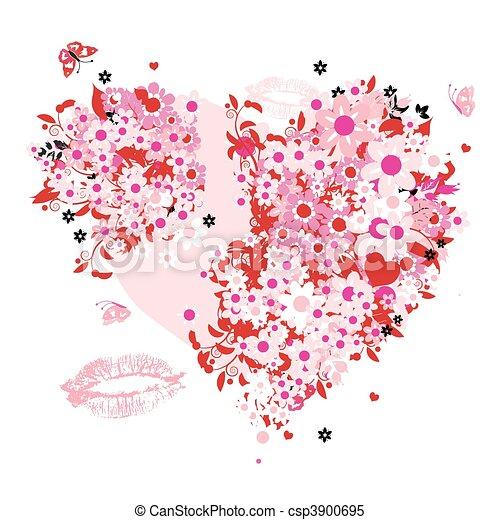 Floral heart shape - csp3900695
