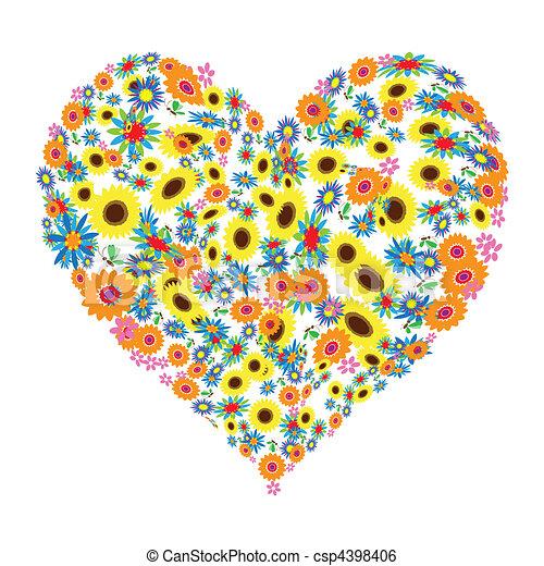 Floral heart shape design - csp4398406