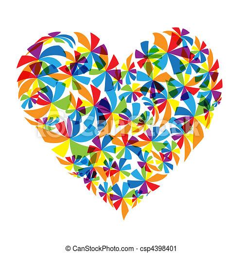 Floral heart shape design - csp4398401