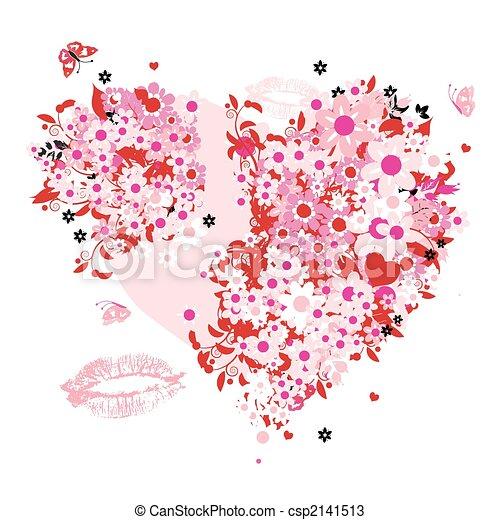 Floral heart shape - csp2141513