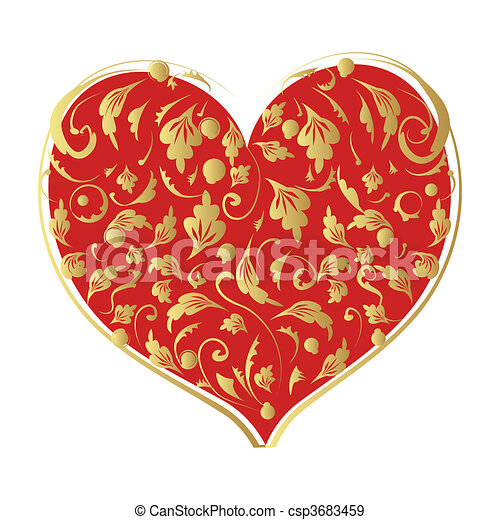 Floral heart shape for your design - csp3683459