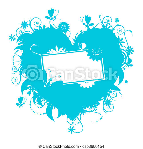 Floral heart shape for your design - csp3680154