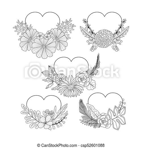 Floral Heart Shape Frame Collection Doodle Style Coloring Book Page Ornate Black Line Cute