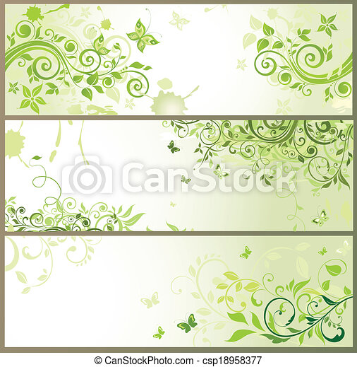 floral, horizontais, verde, bandeiras - csp18958377