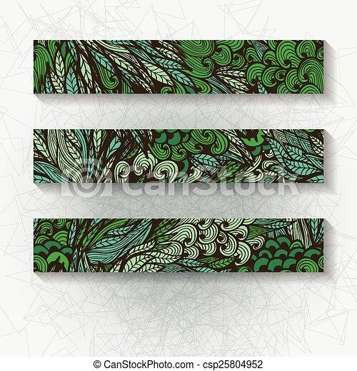Un conjunto de estandartes florales horizontales - csp25804952