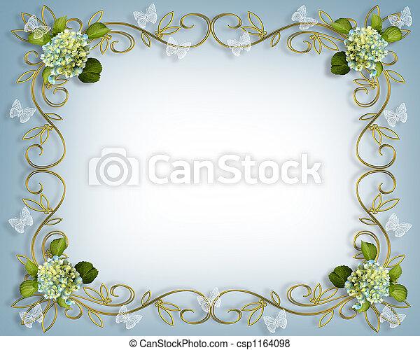 floral, hortensia, frontière - csp1164098