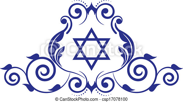 floral icon with star of David - csp17078100