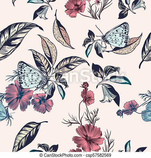 Floral illustration with vector hand drawn flowers and cosmos flowers.eps - csp57582569