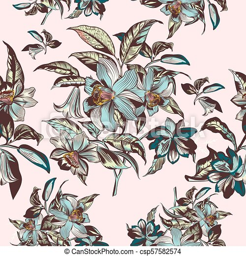 Floral Illustration With Vector Hand Drawn Flowers In Vintage Victorian Styleeps
