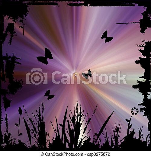 Floral image - grunge border - csp0275872