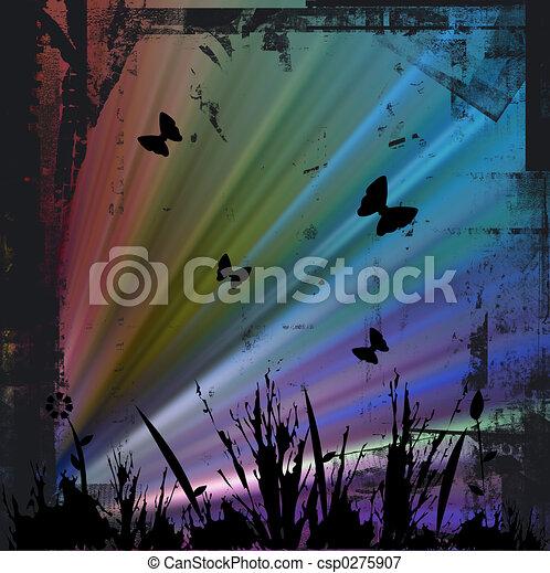 Floral image - grunge border - csp0275907