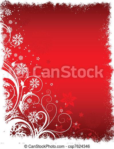 floral, inverno, fundo - csp7624346