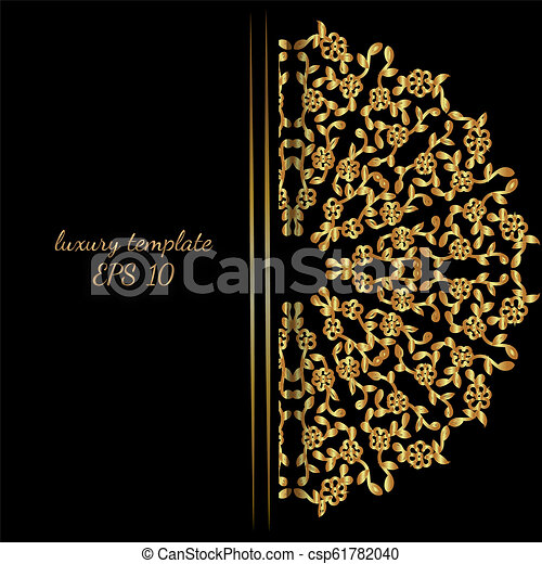 Floral Invitation Card Or Background With Antique Luxury Gold Vintage Frame