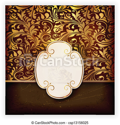 Floral invitation card with label  - csp13156025