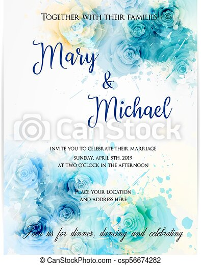 Floral Invitation Wedding Template Invitation Wedding Template Background With Watercolored Abstract Roses Blue Colored