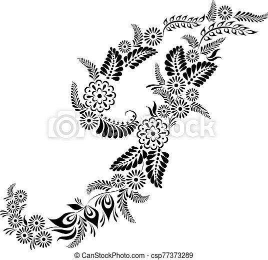 floral, j, majuscule, lettre, monogram - csp77373289