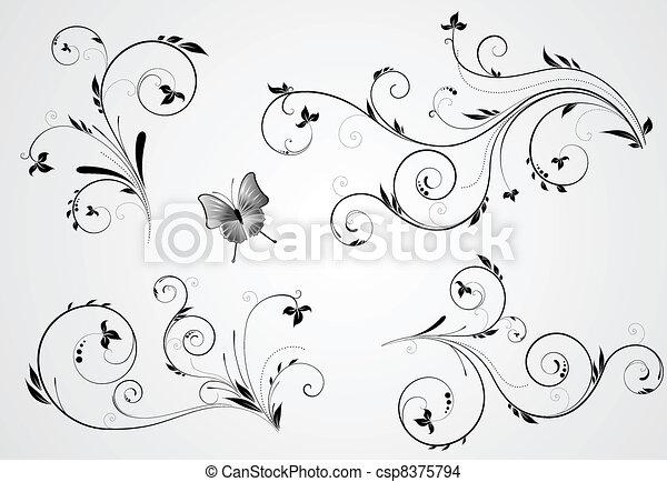 floral, kolken, ontwerpen, set - csp8375794