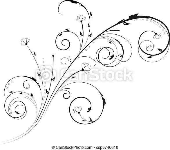 floral, kolken, ornament - csp5746618