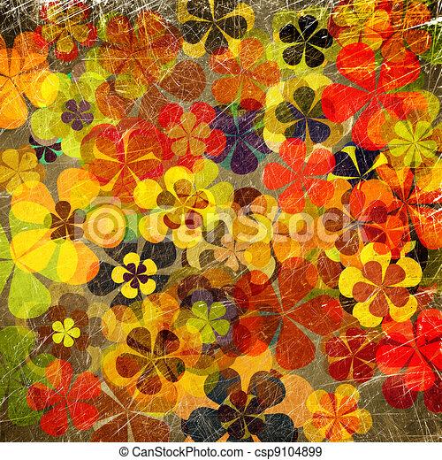 floral kunst, grunge, achtergrond, ouderwetse  - csp9104899