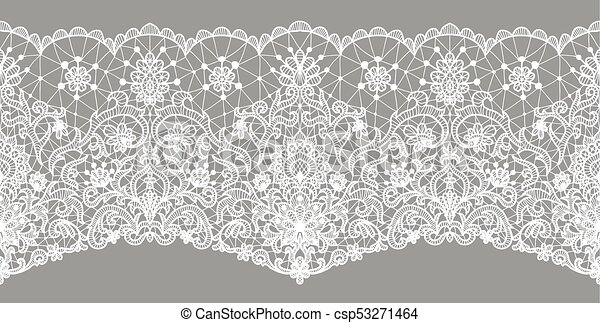 Floral Lace Border White Ribbon On Gray Horizontally Clip