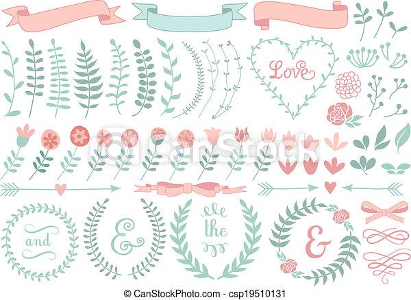 floral laurel wreath, vector set - csp19510131