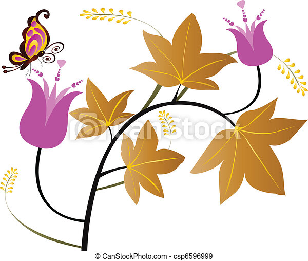 Floral leaves and butterfly  - csp6596999