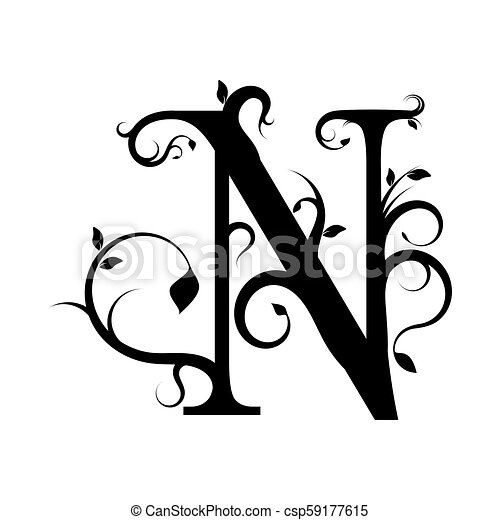 Floral Letter N Decorative Floral Letter N On A White Background