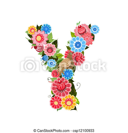 Floral letter to the birds in the style Khokhloma - csp12100933