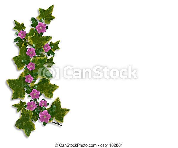 floral, lierre, frontière, conception - csp1182881