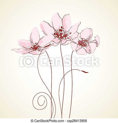Linda tarjeta de felicitación floral - csp28413958