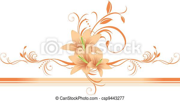 floral, lis, ornament., frontière - csp9443277