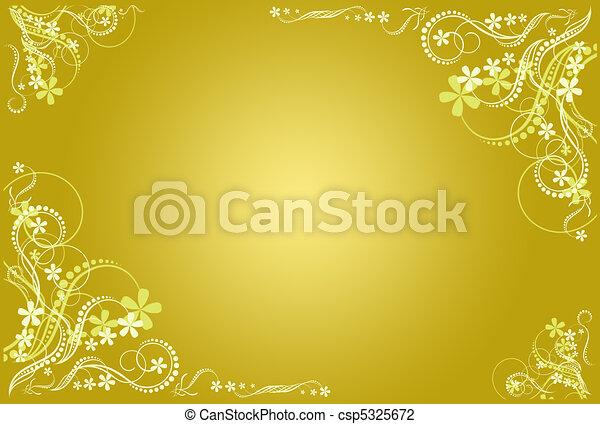 floral, marco, artístico, ocre - csp5325672