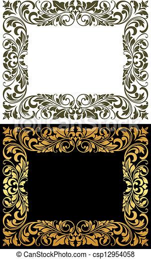 Un marco elegante al estilo floral - csp12954058