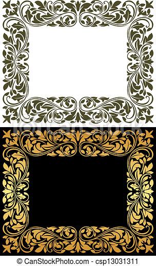 Un marco floral al estilo retro - csp13031311