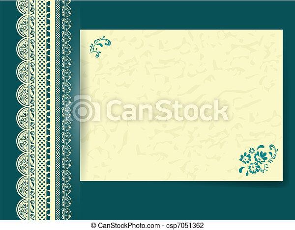 Floral, marco, papel, adornado, encaje. Turquesa, encaje, marco ...
