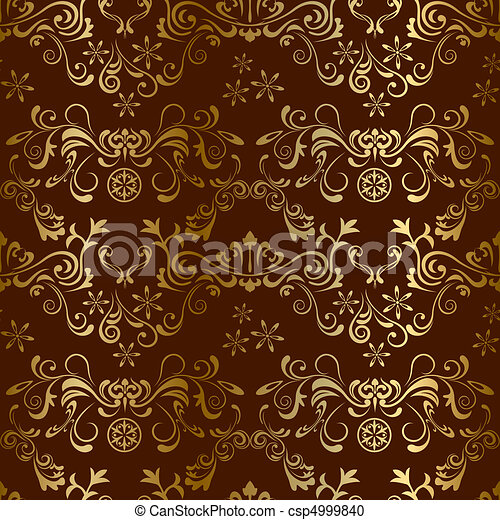 floral, marrom, seamless, padrão - csp4999840