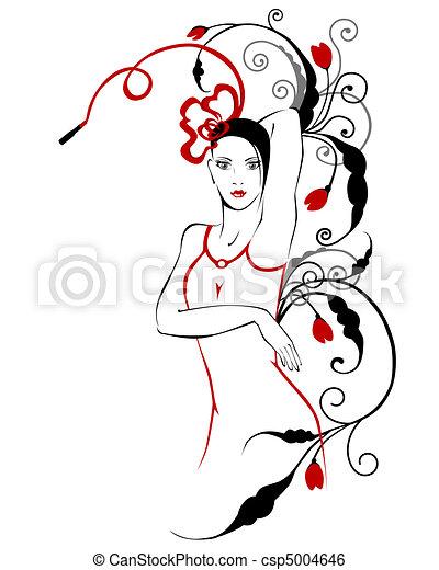 floral, meisje, ornament, modieus - csp5004646