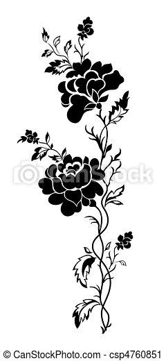 floral model, verticaal, roos, tatto - csp4760851