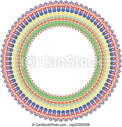 Floral modern vector round frame. Oriental vector round colorful ...