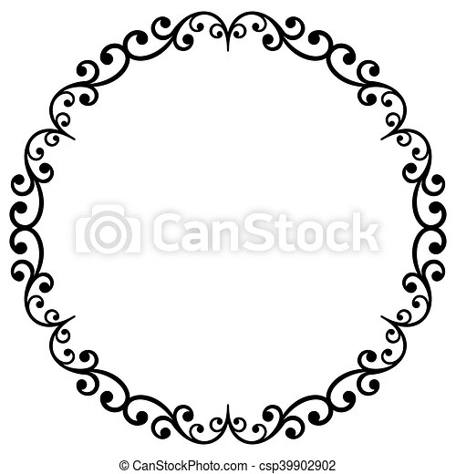 Floral modern vector round frame. Oriental vector black and white ...