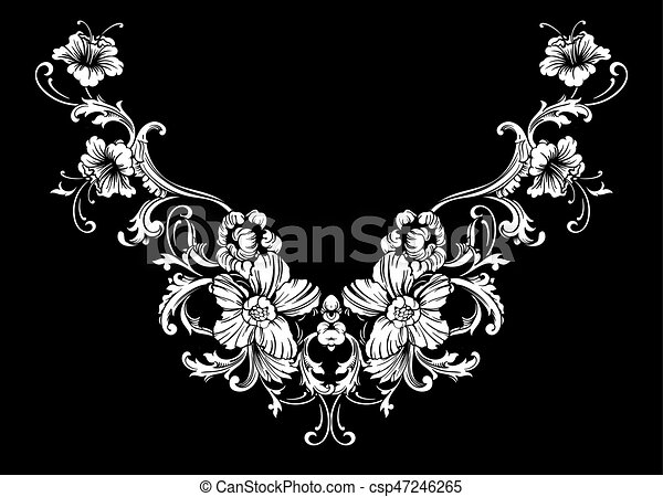 floral neck embroidery design in baroque style independent composition with flowers and leaves vector