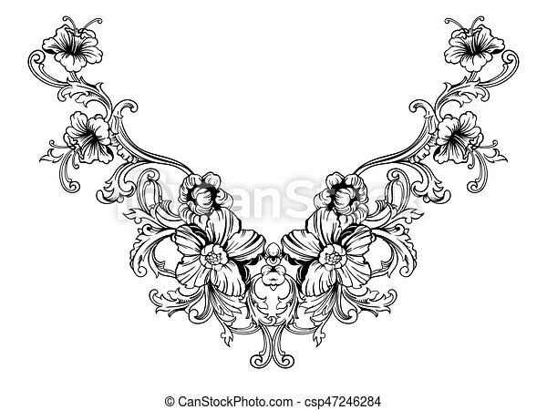 floral neck embroidery design in baroque style independent vector search clip art. Black Bedroom Furniture Sets. Home Design Ideas