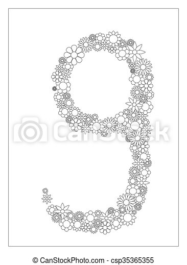 floral number 9 number nine from flowers coloring page vector illustration